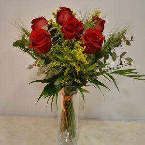 ramo de 6 rosas con pink para sant jordi